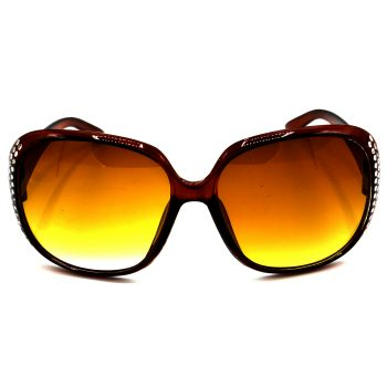 Air Strike Brown & Yellow Lens Silver Frame UV Protection Glasses For Men Women Boys & Girls - HCMBO6088 - extra -1
