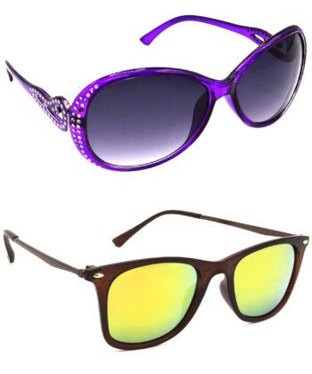 Air Strike Grey & Golden Lens Violet & Brown Frame Sunglasses For Men Women Boys & Girls - HCMBO5797