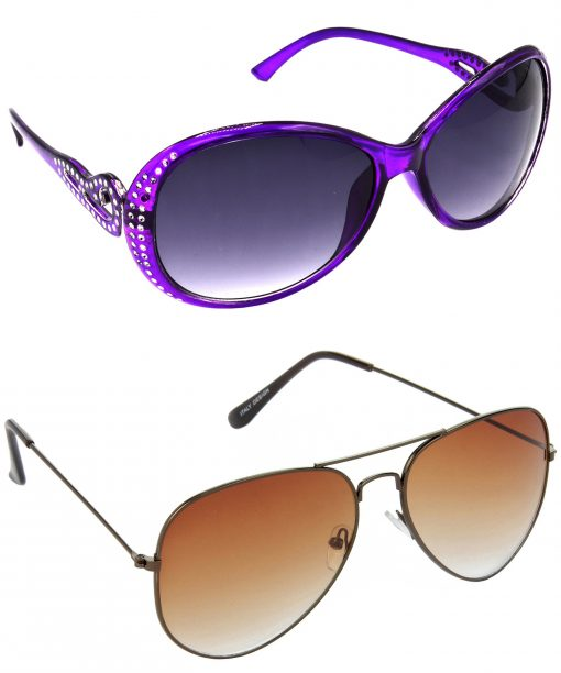 Air Strike Grey & Brown Lens Violet & Brown Frame UV Protection Glasses For Men Women Boys & Girls - HCMBO5816