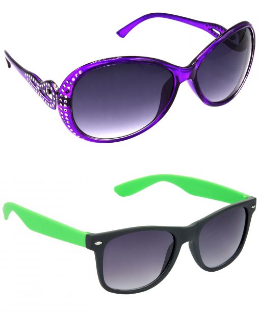 Air Strike Grey Lens Violet & Green Frame Latest Goggles For Men Women Boys & Girls - HCMBO5821