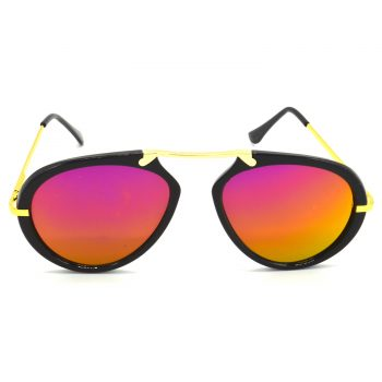 Air Strike Pink & Yellow Lens Golden & Silver Frame Sunglasses For Men Women Boys & Girls - HCMBO7089 - extra -1