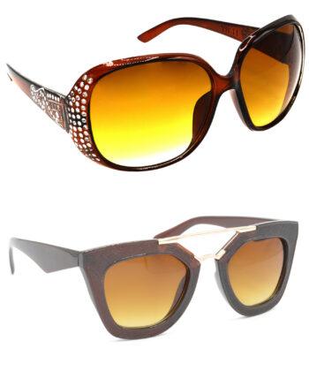 Air Strike Brown Lens Silver & Golden Frame New Goggle For Men Women Boys & Girls - HCMBO5925