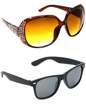 Air Strike Brown & Black Lens Silver & Black Frame New Goggles For Men Women Boys & Girls - HCMBO5994