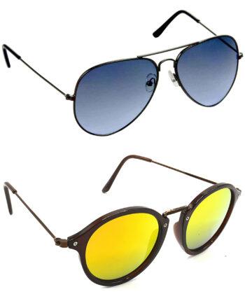 Air Strike Blue & Golden Lens Grey & Brown Frame Stylish Goggles For Men Women Boys & Girls - HCMBO609