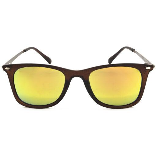 Air Strike Golden & Yellow Lens Brown & Silver Frame UV Protection Glasses For Men Women Boys & Girls - HCMBO8944 - extra -1