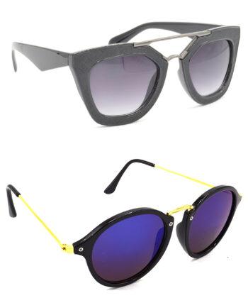 Air Strike Grey & Blue Lens Black & Golden Frame Best Goggles For Men Women Boys & Girls - HCMBO6276