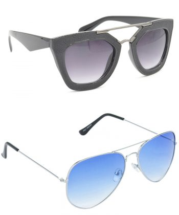 Air Strike Grey & Blue Lens Black & Silver Frame Stylish Shades For Men Women Boys & Girls - HCMBO6303