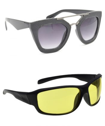 Air Strike Grey & Yellow Lens Black Frame New Goggle For Men Women Boys & Girls - HCMBO6316