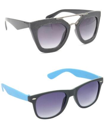 Air Strike Grey Lens Black & Blue Frame Stylish Goggles For Men Women Boys & Girls - HCMBO6321