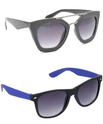 Air Strike Grey Lens Black & Blue Frame Best Sunglasses For Men Women Boys & Girls - HCMBO6328