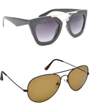 Air Strike Grey & Brown Lens Golden & Brown Frame UV Protection Sunglasses For Men Women Boys & Girls - HCMBO6381
