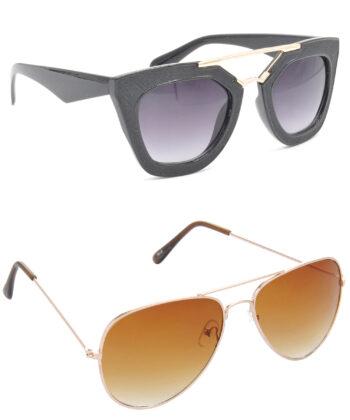 Air Strike Grey & Brown Lens Golden Frame Latest Goggles For Men Women Boys & Girls - HCMBO6382