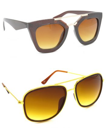 Air Strike Brown Lens Golden Frame Latest Sunglasses For Men Women Boys & Girls - HCMBO6417