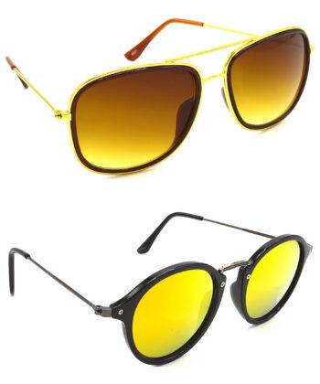Air Strike Brown & Golden Lens Golden & Grey Frame Best Goggles For Men Women Boys & Girls - HCMBO6667