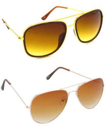 Air Strike Brown Lens Golden Frame New Sunglasses For Men Women Boys & Girls - HCMBO6692