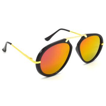 Air Strike Pink & Yellow Lens Golden & Silver Frame Sunglasses For Men Women Boys & Girls - HCMBO7089 - extra -5