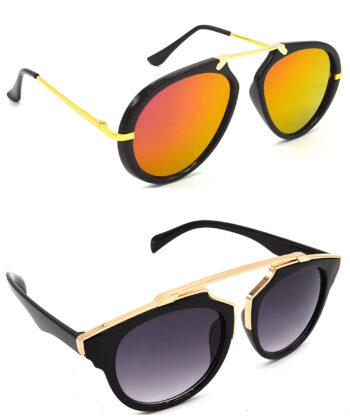 Air Strike Pink & Grey Lens Golden Frame Latest Sunglasses For Men Women Boys & Girls - HCMBO7029