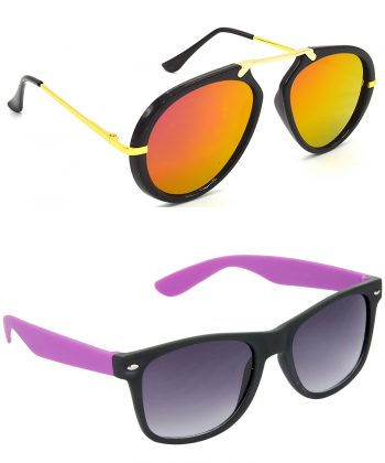 Air Strike Pink & Grey Lens Golden & Violet Frame New Goggle For Men Women Boys & Girls - HCMBO7081