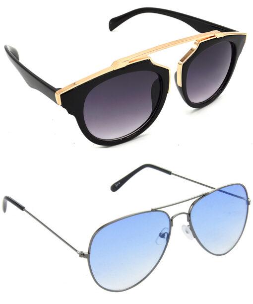 Air Strike Grey & Blue Lens Golden & Grey Frame Stylish Sunglasses For Men Women Boys & Girls - HCMBO7801