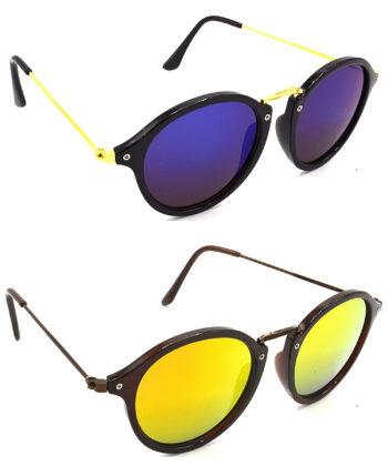 Air Strike Blue & Golden Lens Golden & Brown Frame Stylish Shades For Men Women Boys & Girls - HCMBO7867
