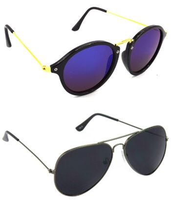Air Strike Blue & Black Lens Golden & Grey Frame Best Goggles For Men Women Boys & Girls - HCMBO7891