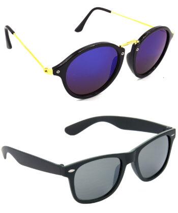 Air Strike Blue & Black Lens Golden & Black Frame UV Protection Sunglasses For Men Women Boys & Girls - HCMBO7911