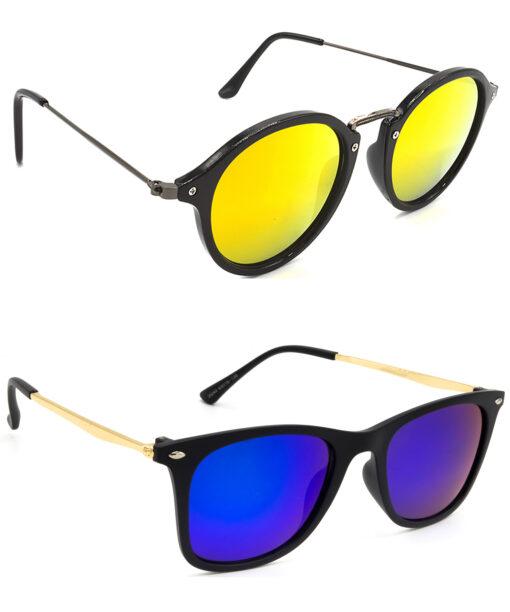 Air Strike Golden & Pink Lens Grey & Golden Frame Stylish Shades For Men Women Boys & Girls - HCMBO7935