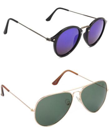 Air Strike Violet & Green Lens Grey & Golden Frame UV Protection Glasses For Men Women Boys & Girls - HCMBO8060