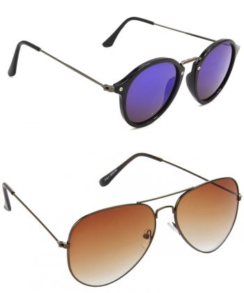 Air Strike Violet & Brown Lens Grey & Brown Frame Stylish Goggles For Men Women Boys & Girls - HCMBO8072