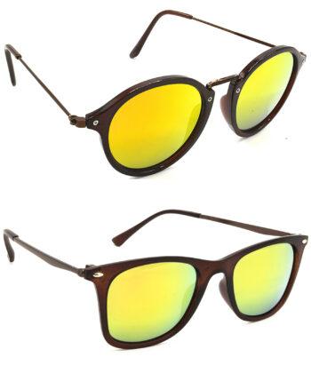 Air Strike Golden Lens Brown Frame Stylish Sunglasses For Men Women Boys & Girls - HCMBO8107