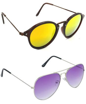 Air Strike Golden & Violet Lens Brown & Silver Frame Latest Sunglasses For Men Women Boys & Girls - HCMBO8117