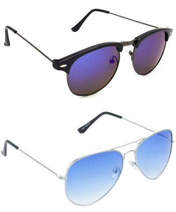Air Strike Grey & Blue Lens Grey & Silver Frame Fashion Goggles For Men Women Boys & Girls - HCMBO8165