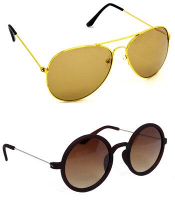 Air Strike Brown Lens Golden & Silver Frame Best Goggles For Men Women Boys & Girls - HCMBO819