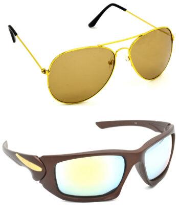 Air Strike Brown & Silver Lens Golden & Brown Frame Stylish Goggles For Men Women Boys & Girls - HCMBO830