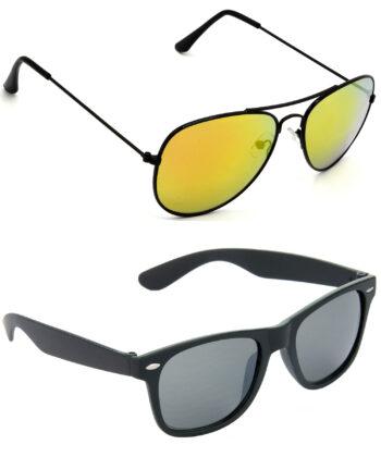 Air Strike Golden & Black Lens Black Frame Sunglasses For Men Women Boys & Girls - HCMBO8483