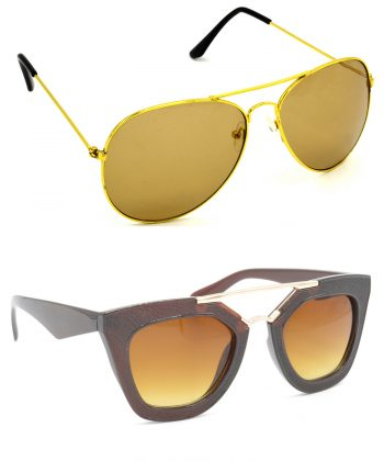 Air Strike Brown Lens Golden Frame Sun Goggles For Men Women Boys & Girls - HCMBO849