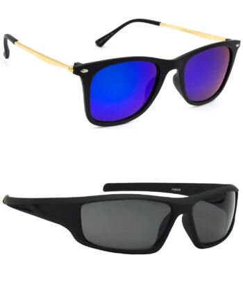 Air Strike Pink & Grey Lens Golden & Black Frame Sunglasses For Men Women Boys & Girls - HCMBO8636