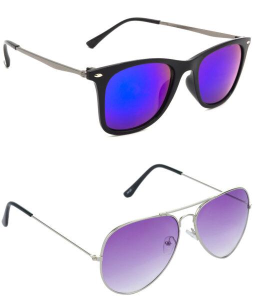 Air Strike Blue & Violet Lens Grey & Silver Frame Latest Goggles For Men Women Boys & Girls - HCMBO8728