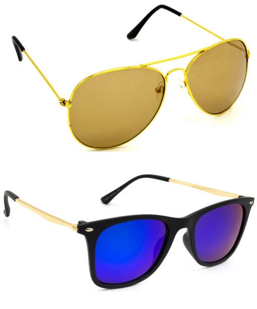 Air Strike Brown & Pink Lens Golden Frame Sunglasses Styles For Men Women Boys & Girls - HCMBO885