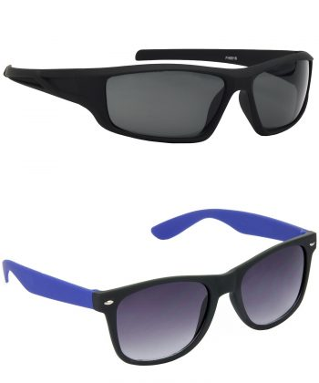 Air Strike Grey Lens Black & Blue Frame Stylish Goggles For Men & Boys - HCMBO8973