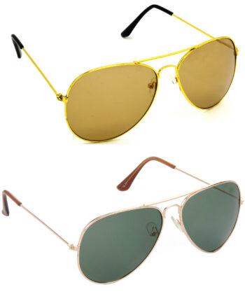 Air Strike Brown & Green Lens Golden Frame Stylish Sunglasses For Men Women Boys & Girls - HCMBO899