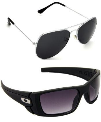 Air Strike Black & Blue Lens Silver & Black Frame Best Goggles For Men Women Boys & Girls - HCMBO938
