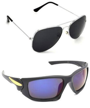 Air Strike Black & Blue Lens Silver & Black Frame Latest Goggles For Men Women Boys & Girls - HCMBO959