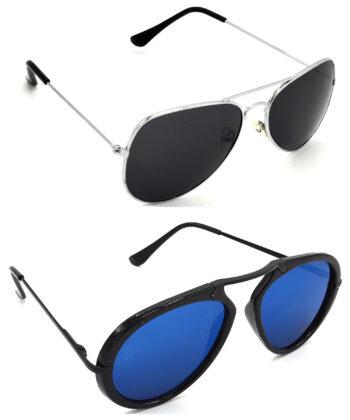 Air Strike Black & Blue Lens Silver & Black Frame Stylish Sunglasses For Men Women Boys & Girls - HCMBO984