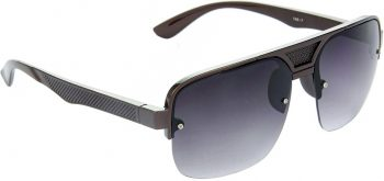 Air Strike Black Lens Brown Frame Rectangular Sunglass Stylish For Sunglasses Men Women Boys Girls