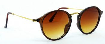 Air Strike Brown Lens Brown & Golden Frame Wrap-around Sunglass Stylish For Sunglasses Men Women Boys Girls