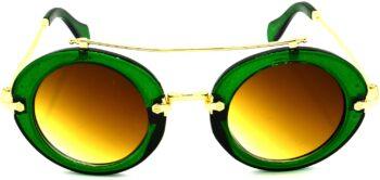 Air Strike Brown Lens Green Frame Round Sunglass Stylish Sunglasses For Men Women Boys Girls - extra