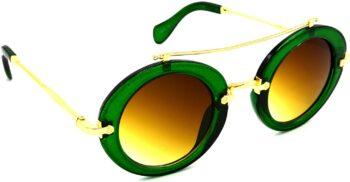 Air Strike Brown Lens Green Frame Round Sunglass Stylish Sunglasses For Men Women Boys Girls