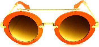 Air Strike Brown Lens Orange Frame Round Sunglass Stylish Sunglasses For Men Women Boys Girls - extra