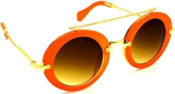 Air Strike Brown Lens Orange Frame Round Sunglass Stylish Sunglasses For Men Women Boys Girls